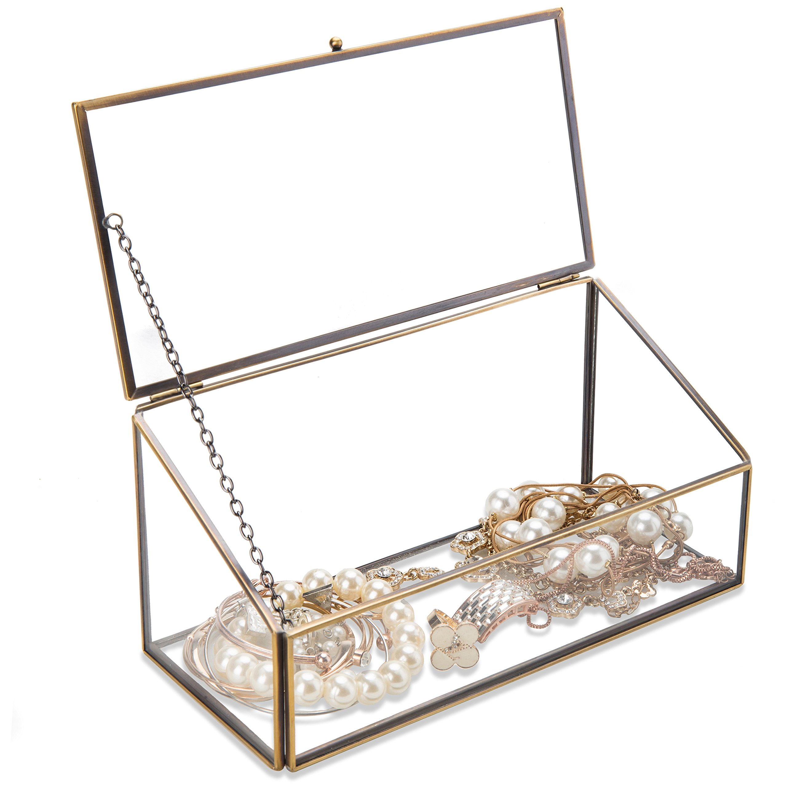 MyGift Decorative Clear Glass & Brass Tone Metal Slanted Top Lid Shadow Box Jewelry Chest/Storage Display Case by MyGift