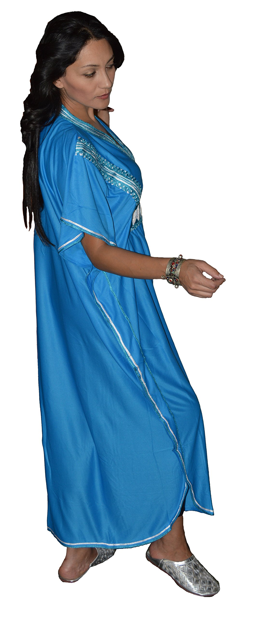 Moroccan Caftans Women Breathable Handmade Butterfly Style Embroidery Ethnic Design Blue by Moroccan Caftans (Image #4)