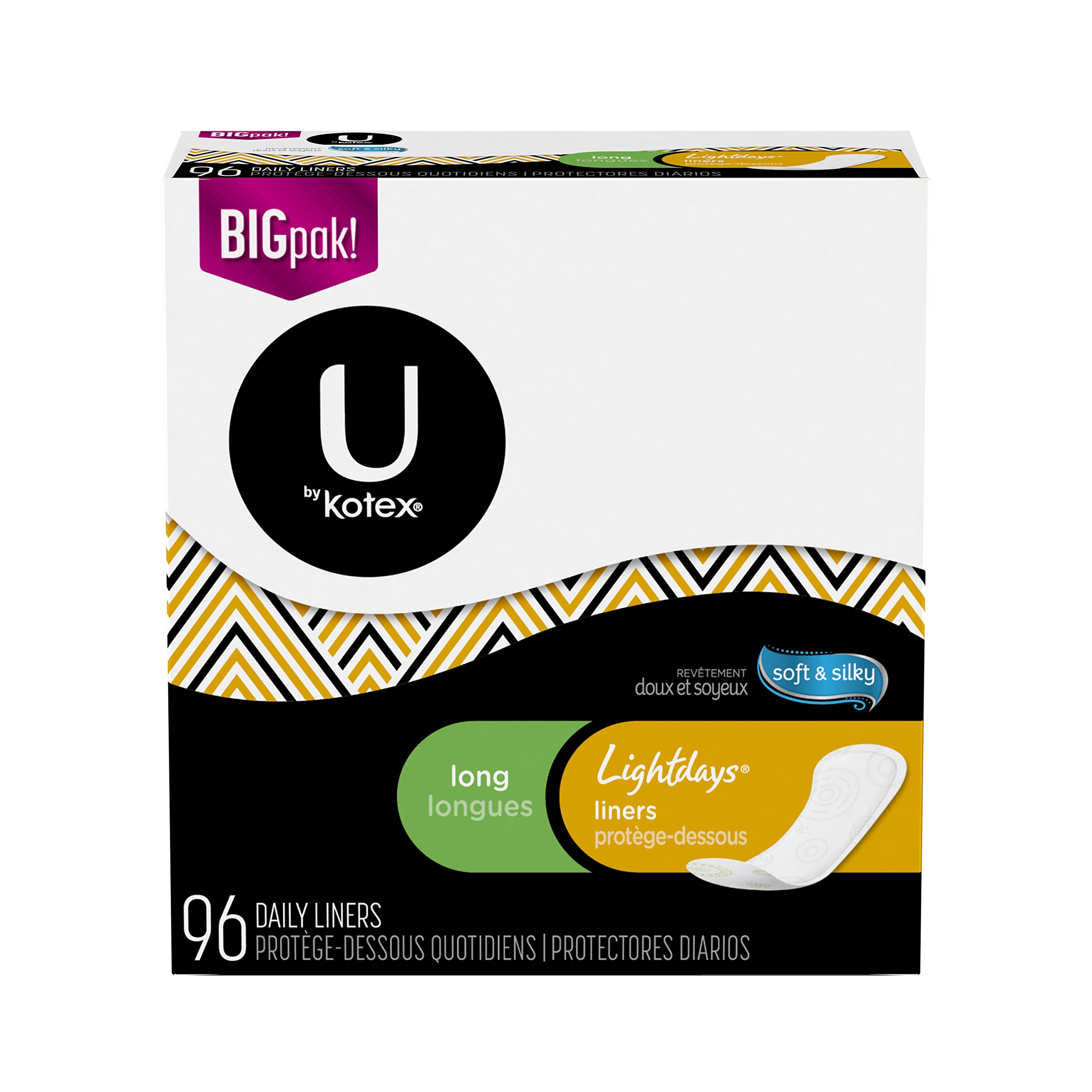 U by Kotex Lightdays Liners, Long, Unscented, 96 Count, Pack of 5 (480 Count Total)