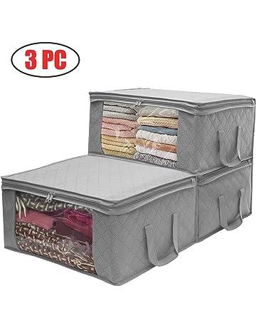 3 piezas Organizador de almacenamiento Bolsas para ropa/Hogar/Dormitorio,carbón vegetal,