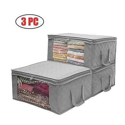 3 piezas Organizador de almacenamiento Bolsas para ropa/Hogar/Dormitorio,carbón vegetal, con ventana transparente grande y asas