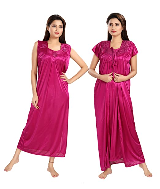 2a937d3db Shopping Station Women Nighty with Robe Free Size_Solid_2 pic Pink
