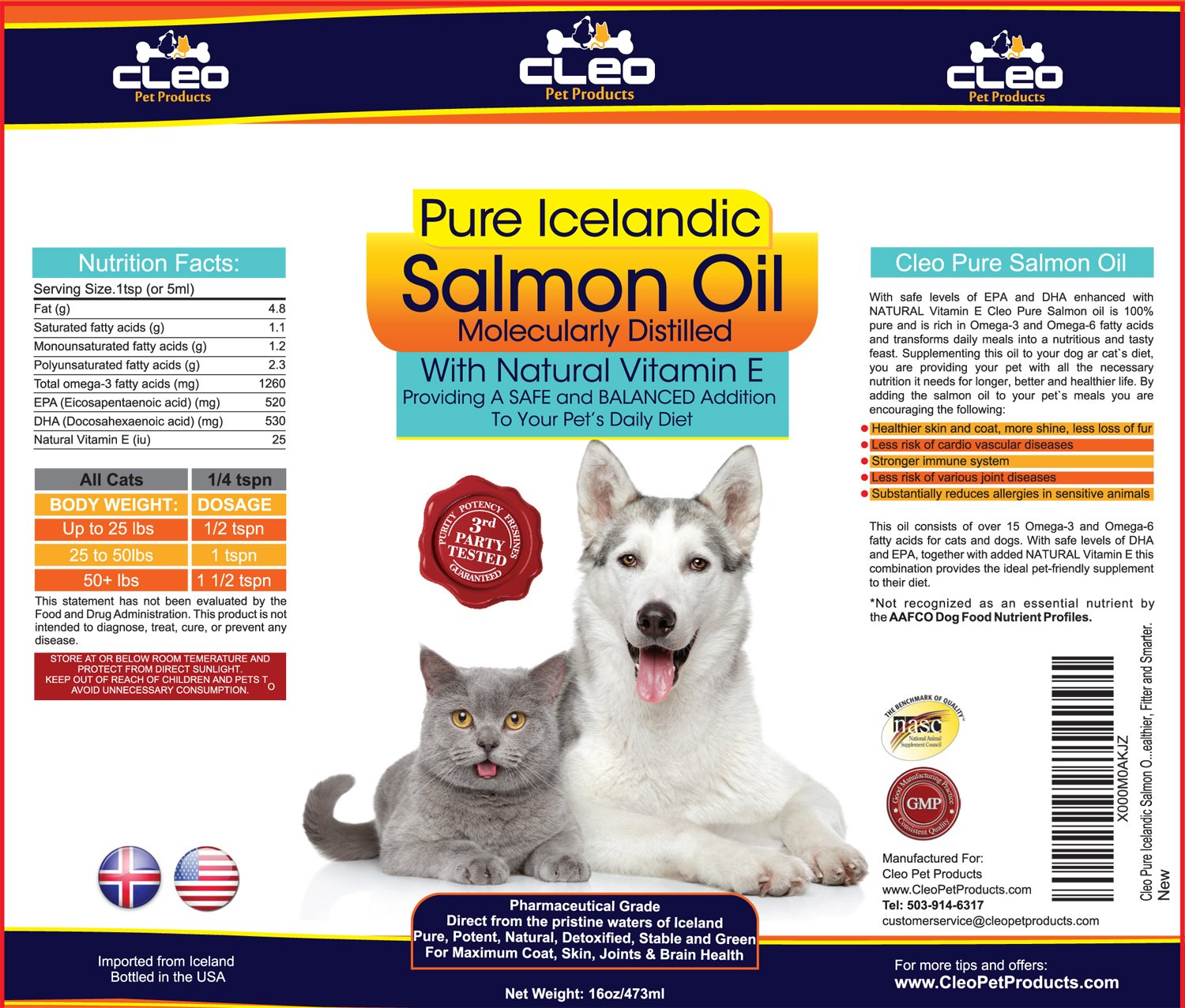 Best Salmon Oil for Dogs and Cats; Pure Pharmaceutical Grade Omega ...
