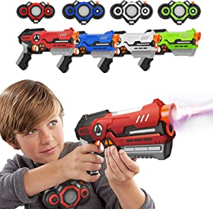 Kidoer Laser Tag Kids Toys, Laser Guns Set Outdoor Games Gift Toy for Boys and Girls Age 8+ | 4 Guns & 4 Vests with Fog Effect