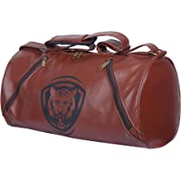 Fashion7 Leather Gym Bag - Duffel Bag for Fitness Freaks | Stylish Printed Sports Bag (Brown)