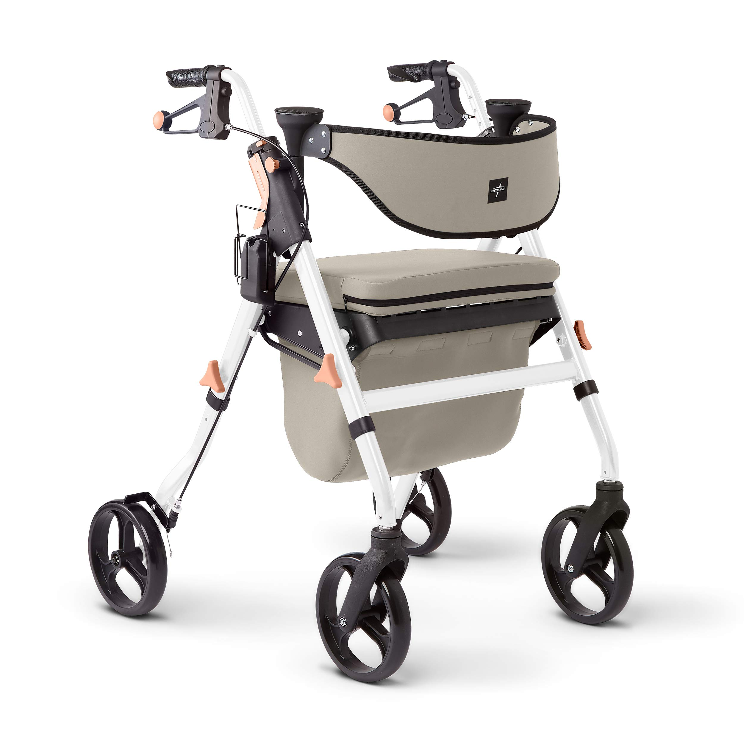 Medline Premium Empower Rollator Walker with Seat, Comfort Handles and Thick Backrest, Folding Walker for Seniors, Microban Antimicrobial Protection, 8'' Wheels, White Frame