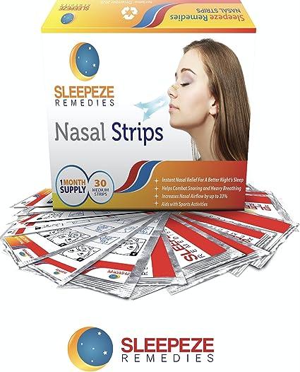 Tiras nasales x 30 M anti ronquidos | Aspirador nasal Sleepeze Remedies® Ronquidos Soluciones,