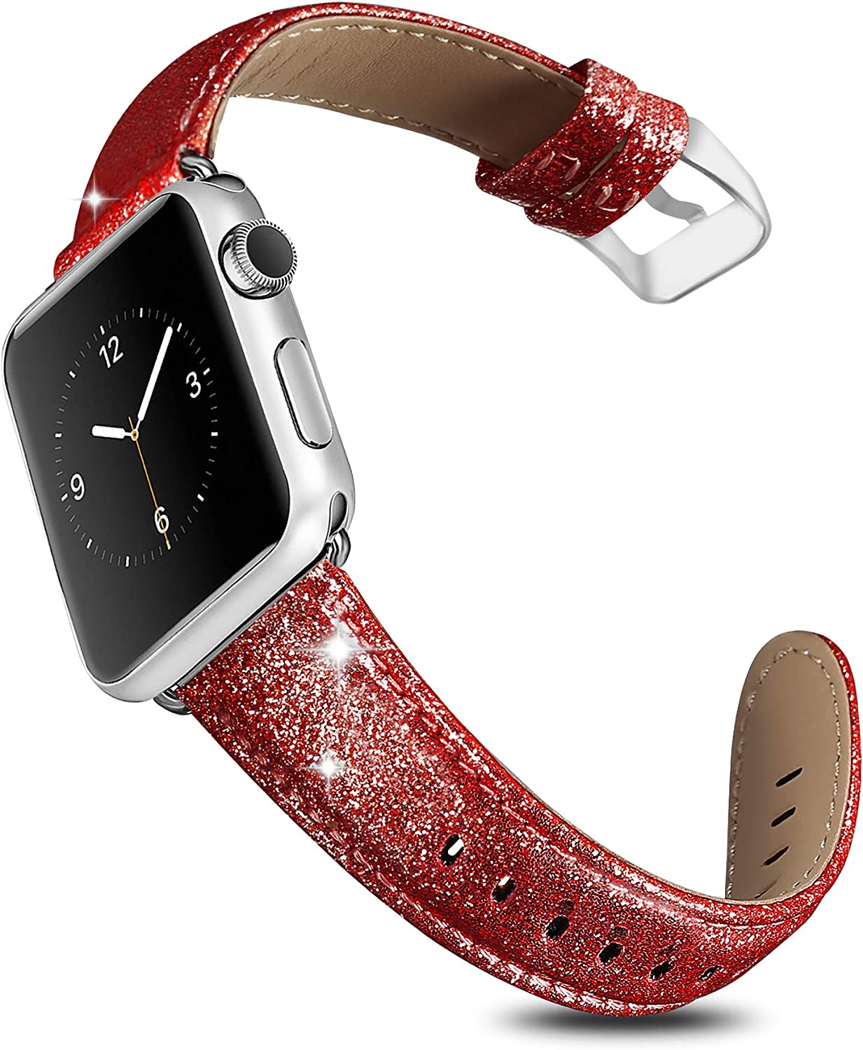 UMAXGET Compatible with Apple Watch Band Series 5/4/3/2/1, 38mm 40mm 42mm 44mm Glittering Leather Strap Compatible with iWatch for Men Women