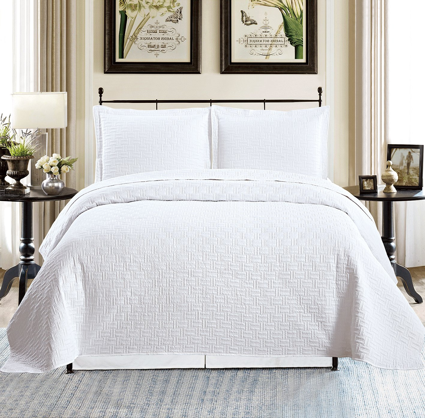 All American Collection New Solid 3pc White Plaid Design Bedspread/Quilt Set Queen Size