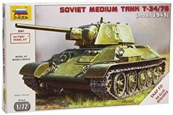 Zvezda 500785001 - Maqueta de Tanque Ruso T34/76 Snap-Fit de ...
