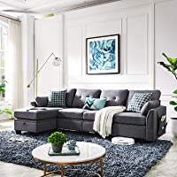 Deals on HONBAY Reversible Sectional Sofa Couch 4-seat