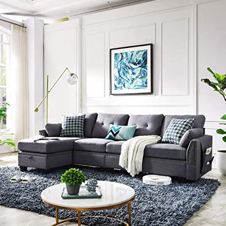 Pleasant Honbay Reversible Sectional Sofa Couch For Living Room L Shape Sofa Couch 4 Seat Sofas Sectional For Apartment Dark Grey Gamerscity Chair Design For Home Gamerscityorg