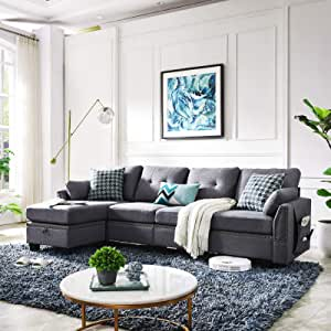 Amazon Com Honbay Reversible Sectional Sofa Couch For Living Room L Shape Sofa Couch 4 Seat Sofas Sectional For Apartment Dark Grey Furniture Decor