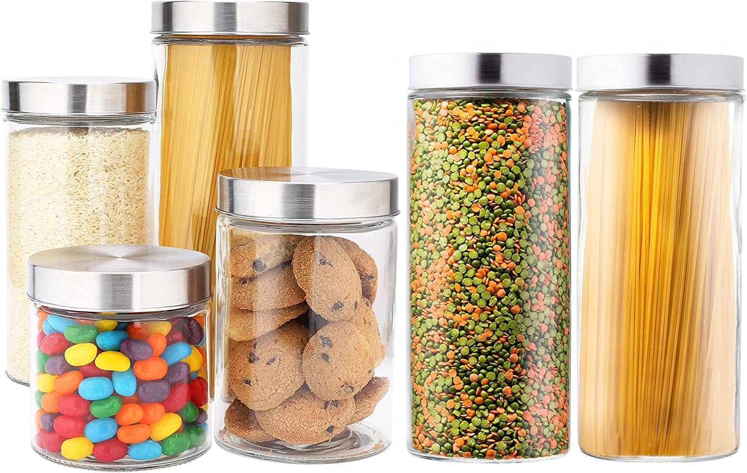 EatNeat Set of 6 Large Glass Kitchen Canisters with Stainless Steel Lids - Food Storage Containers that Offer Modern Style and Clean Kitchen Organization - 72, 55, 38, and 27 Ounce Sizes