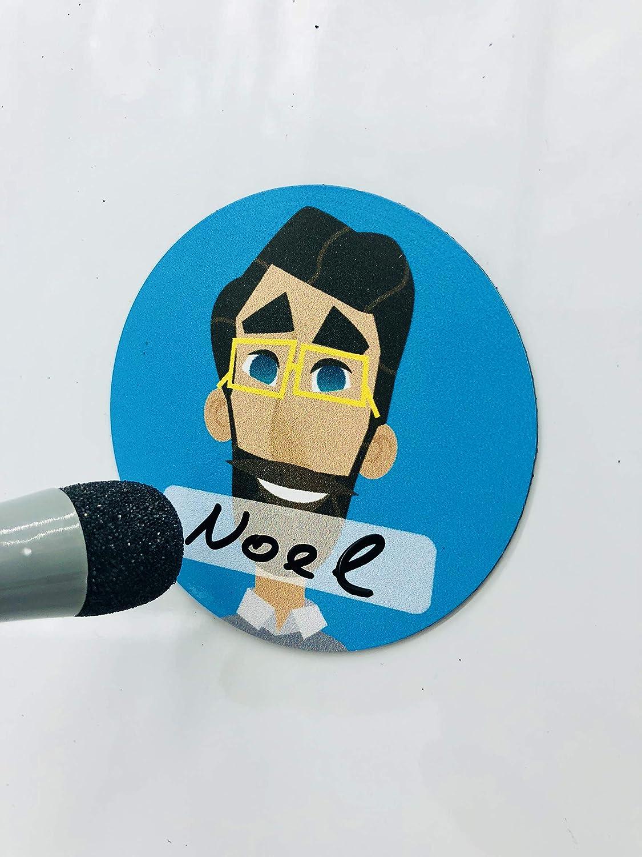 Team Avatar Icon Set 10 verschiedene Avataren = 5 Frauen und 5 M/änner in 10 Farben mit 10 gro/ßen Magneten /ø 6cm, 100 kleinen /ø 1,7cm und einem wasserl/öslichem Stift