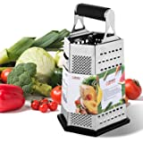 6-Sided Box Cheese Grater - 9 Inch Stainless Steel Graters with Rubber Handle, Non Slip Rubber Bottom for Vegetable, Soft Cheese, Ginger