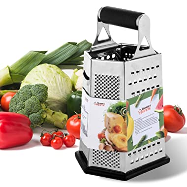 6-Side Box Grater - 9 Inch Stainless Steel Graters with Rubber Handle, Non Slip Rubber Bottom for Vegetable, Cheese, Ginger by THETIS Homes