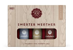 Woolzies 100% Pure & Natural Sweater Weather Essential Oil Set of 3 | Incl. Lavender, Vanilla, & Sandalwood Oils | Great for Relaxing & Soothing | Therapeutic Grade Aromatherapy
