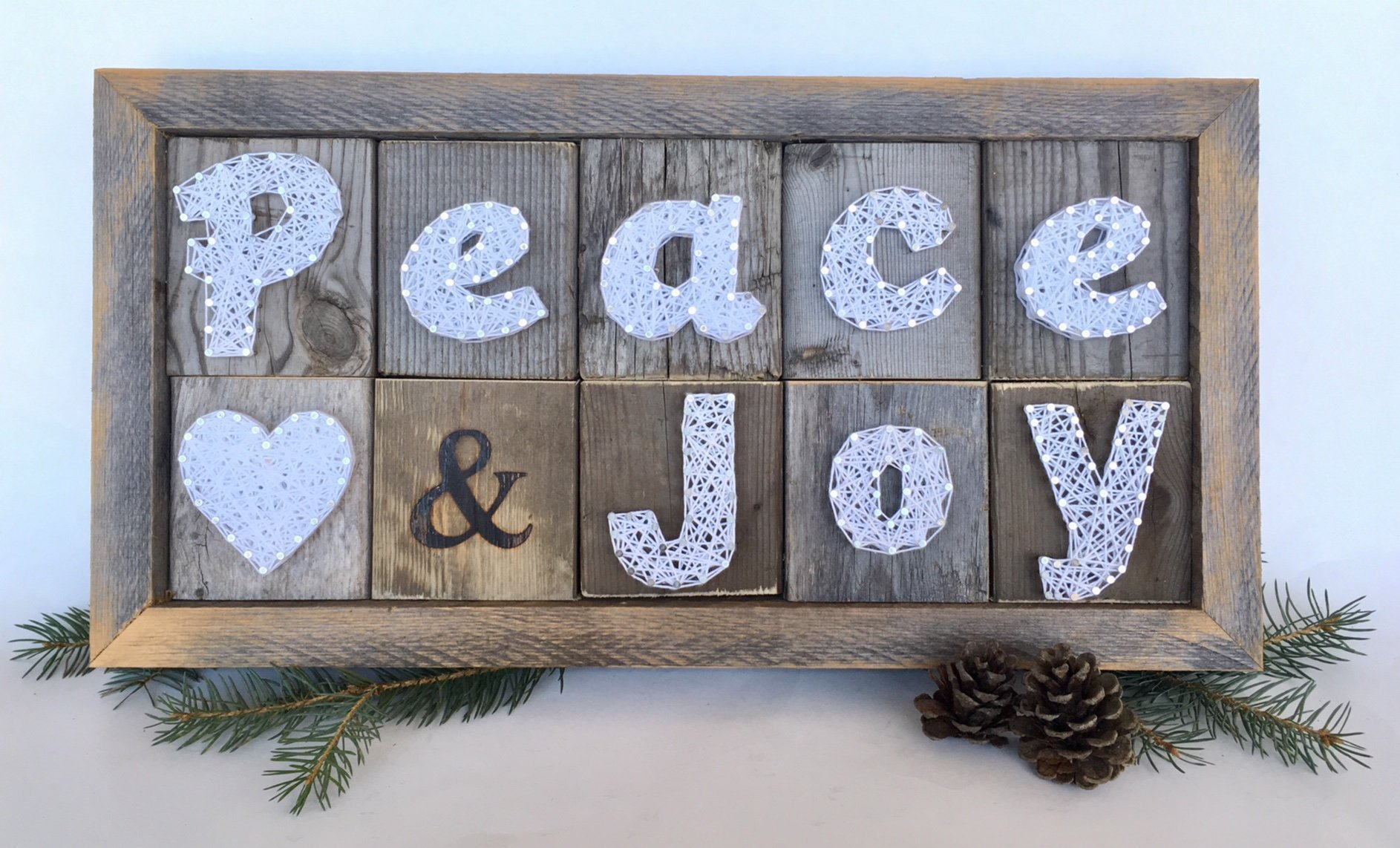 Holiday Peace, love & Joy string art sign decoration by Nail it Art