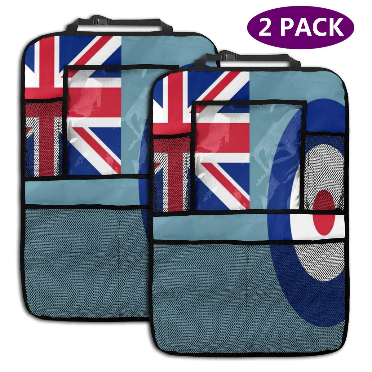 QF6FEICHAN Air Force Ensigh of The United Kingdom Car Seat Back Protectors with Storage Pockets Kick Mats Accessories for Kids and Toddlers by QF6FEICHAN