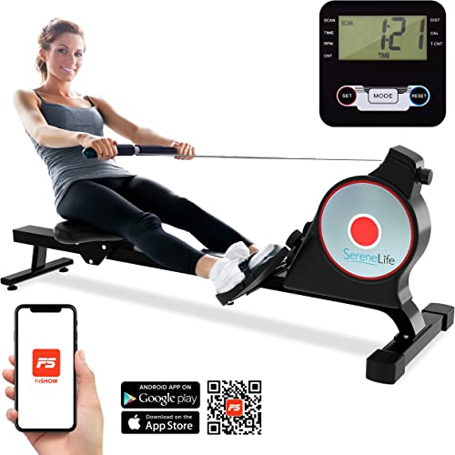 SereneLife Magnetic Rowing Machine with Bluetooth App Fitness Tracking Foldable Home Gym Exercise Rower with Adjustable Resistant, Easy-Glide Padded Seat, Digital LCD Readout and Reinforced Cable