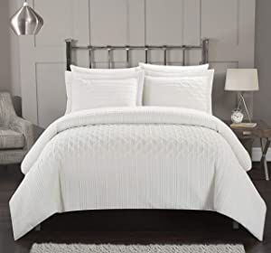 Chic Home Jazmine 2 Piece Comforter Set Embossed Embroidered Quilted Geometric Vine Pattern Bedding - Pillow Sham Included, Twin, White