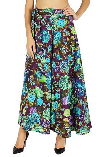 Amoghah algodón falda larga 38 Pareo de Boho del Hippie reversible ...