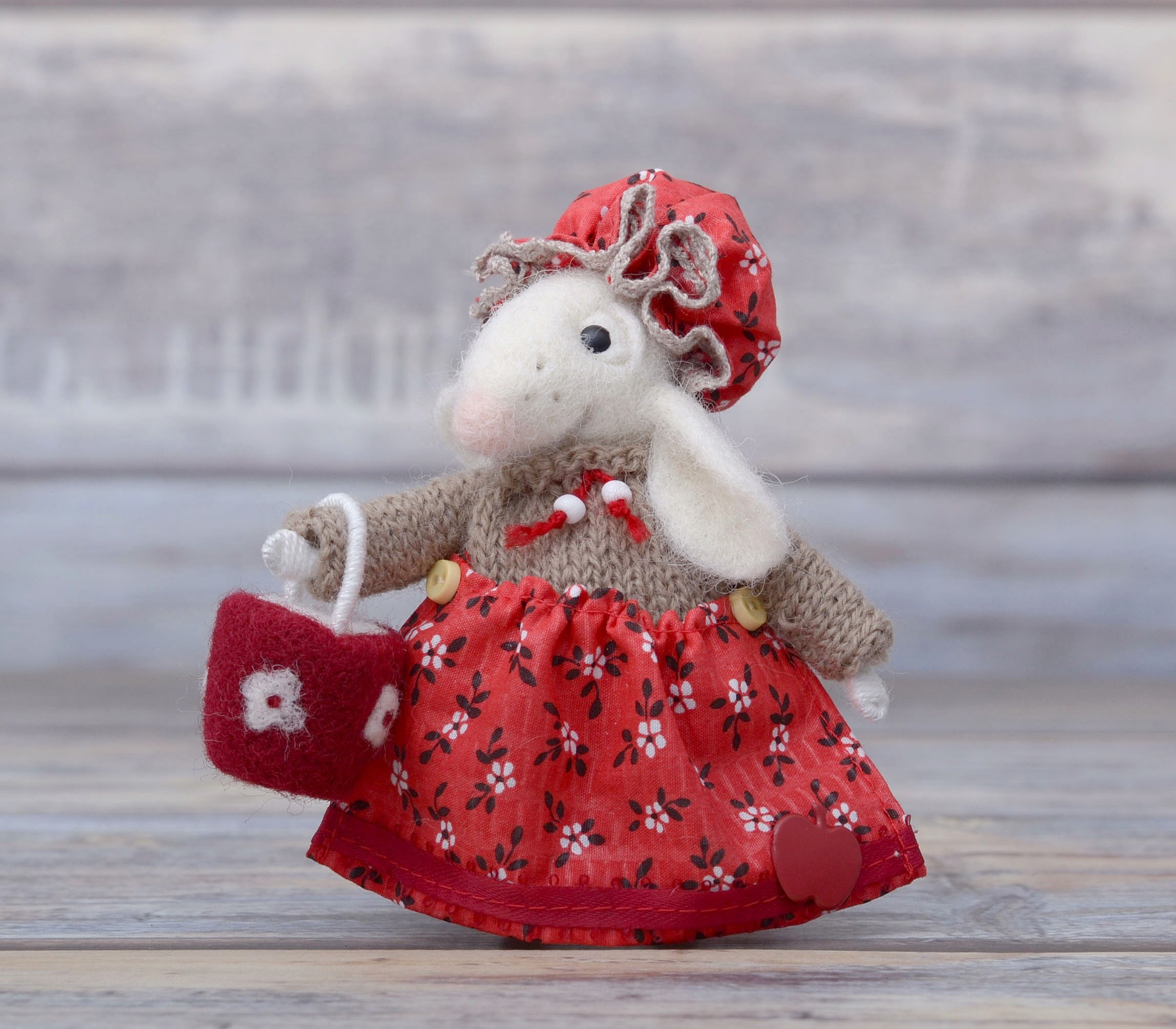 White Mouse with Basket Needle Felting Mice Happy Birthday Gift Felted Animal Wool Rat Soft Sculpture Fiber Art by NeighborKitty