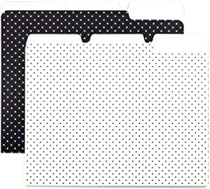 6 Pack File Folders - Polka Dot Black and White - with Tabs, fits Letter Size Paper, Folder Size 9.5 in by 11.75 in - Standard Size - Office, Home and School Organization
