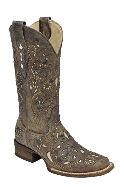 3a5ebbd242f Corral Womens Brown Crater Bone Inlay and Studs Square Toe Western Boot