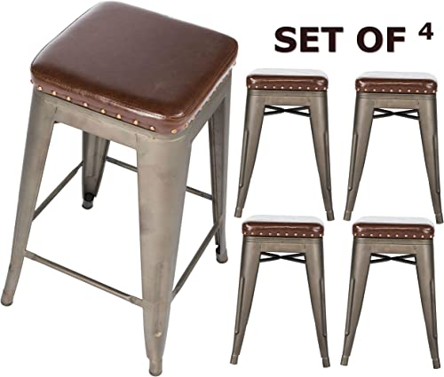 BTEXPERT Stackable Kitchen 24 Counter Industrial PU Upholstered Vintage, bronze