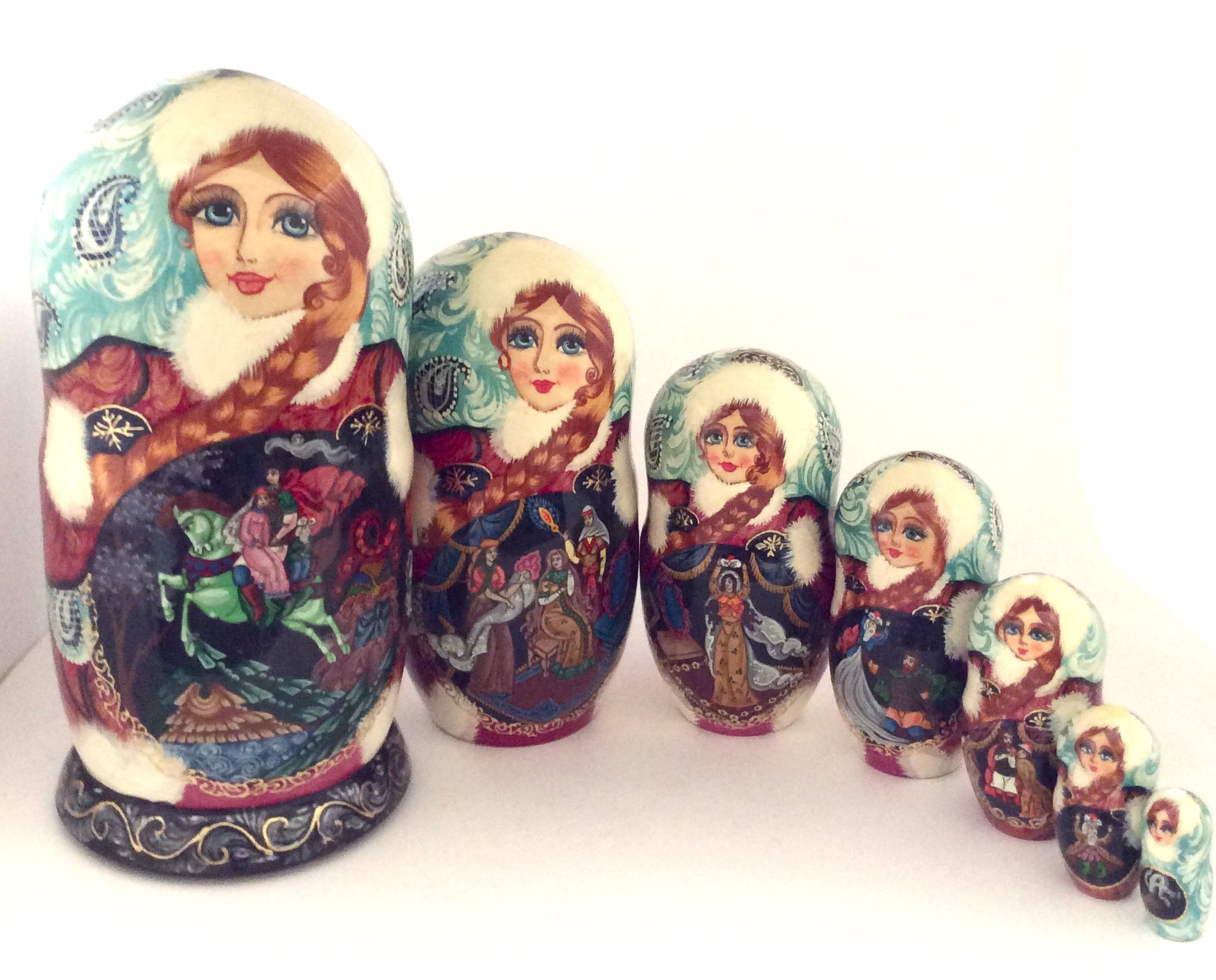 Ruslan and Ludmila Russian Fairytale story Hand Carved Hand Painted Nesting 7 piece DOLL Set / 7''