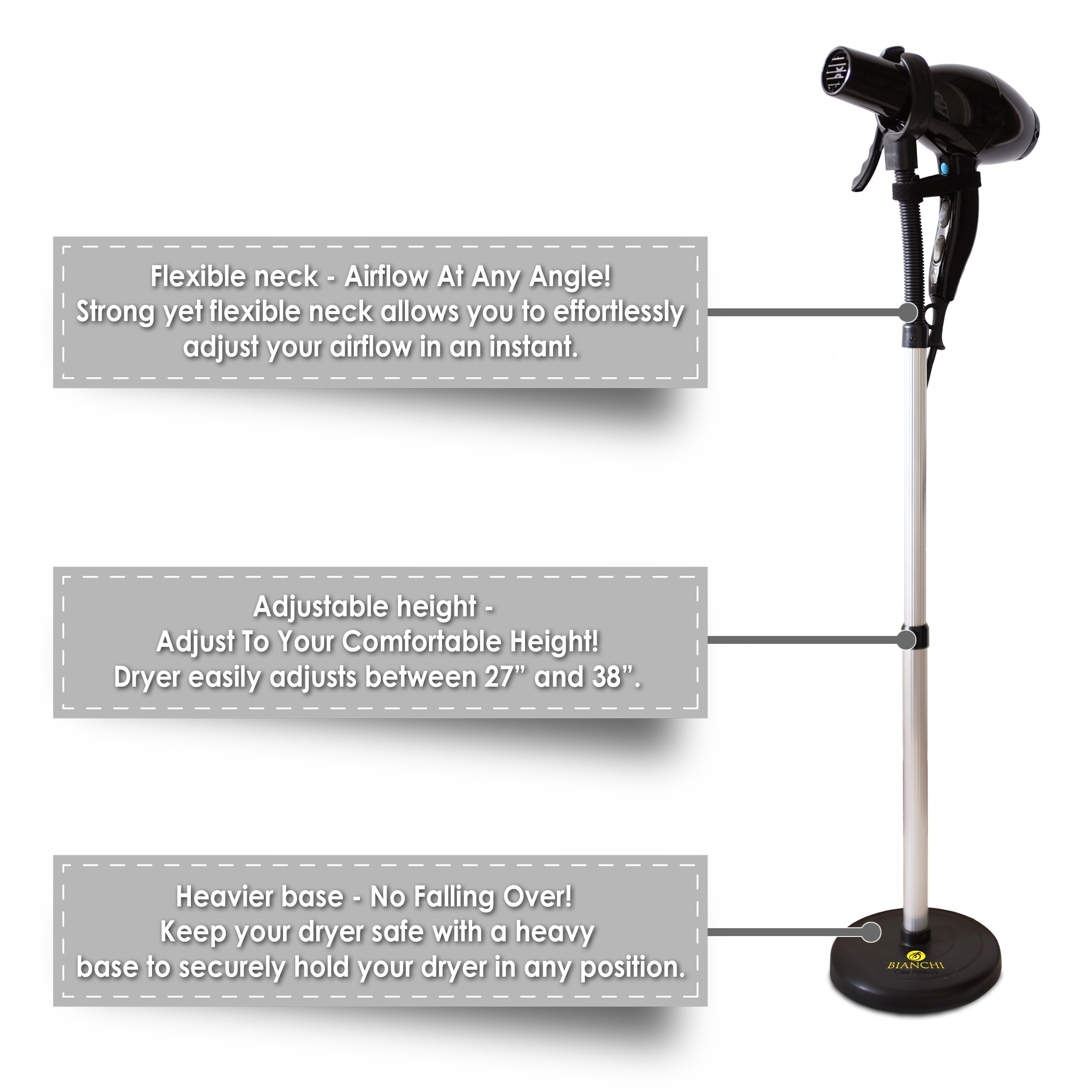 Luxury Hair Dryer Stand With Heavy Non-Tipping Base - Adjustable Height - Hands Free Blow Dryer Holder by Bianchi by Bianchi (Image #5)