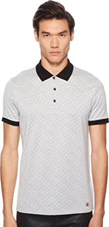 3227aa4771a2 Versace Collection Men's Geo Jacquard Frame Print Polo White/Black Small