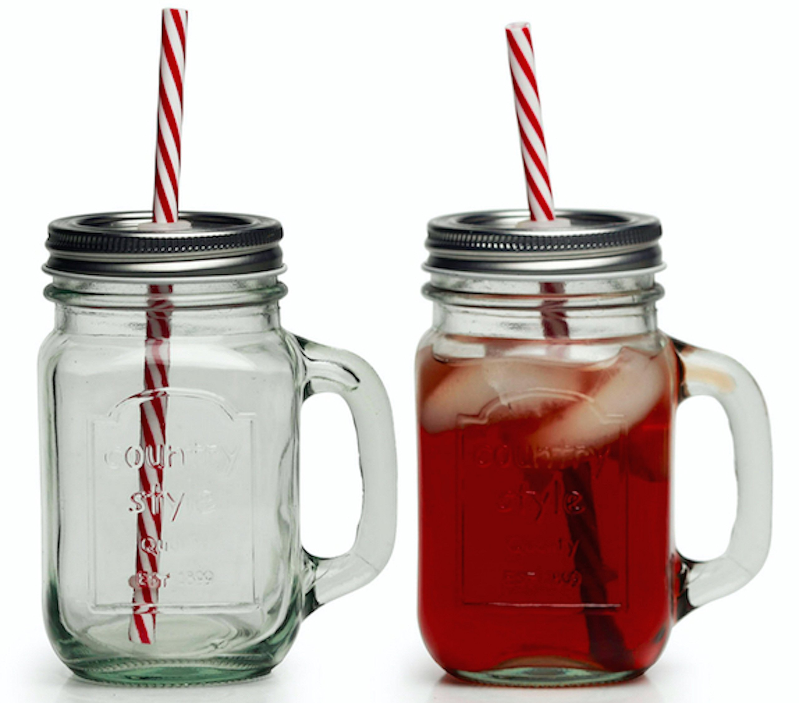 Circleware Country Glass Yorkshire Mason Jar Drinking Mugs with Handles, Metal Lids and Hard Plastic Reusable Straws, Set of 4, 15 ounce, Clear, Limited Edition Glassware