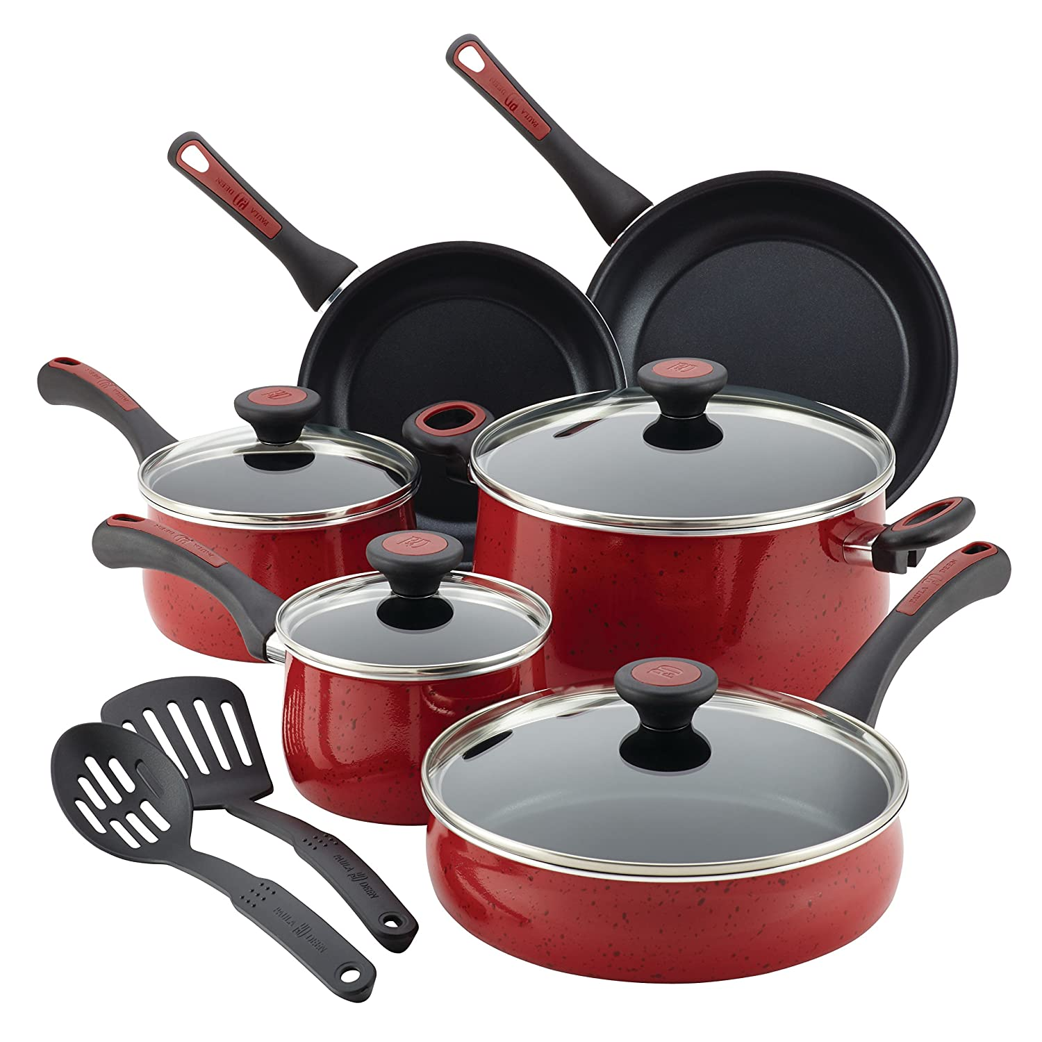 Paula Deen Riverbend Aluminum Nonstick Cookware Set, 12-Piece, Red Speckle