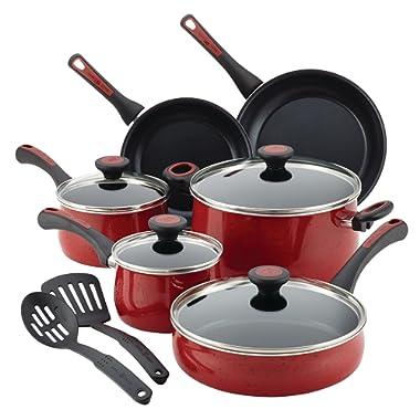 Paula Deen Riverbend Aluminum Nonstick Cookware Set, 12-Piece, Red Speckle