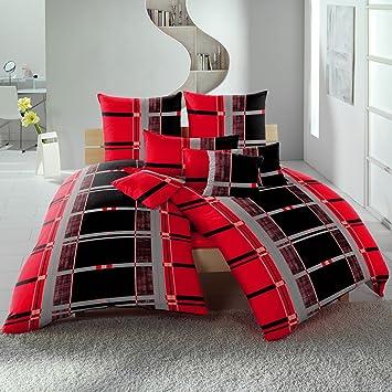 Möbel Wohnen Bertels Mikrofaser Bettwäsche Ornamente Streifen Rot