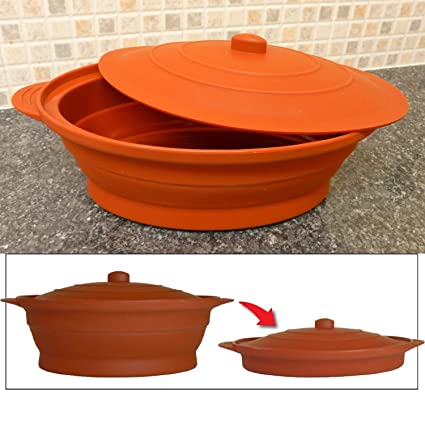 1223 Good Ideas Multi-Use Collapsible Silicone Cooking Pot in Terracota 1.2 L Ideal for Camping and Caravanning. Microwave and Freeze Collapsible Design Suitable for Oven