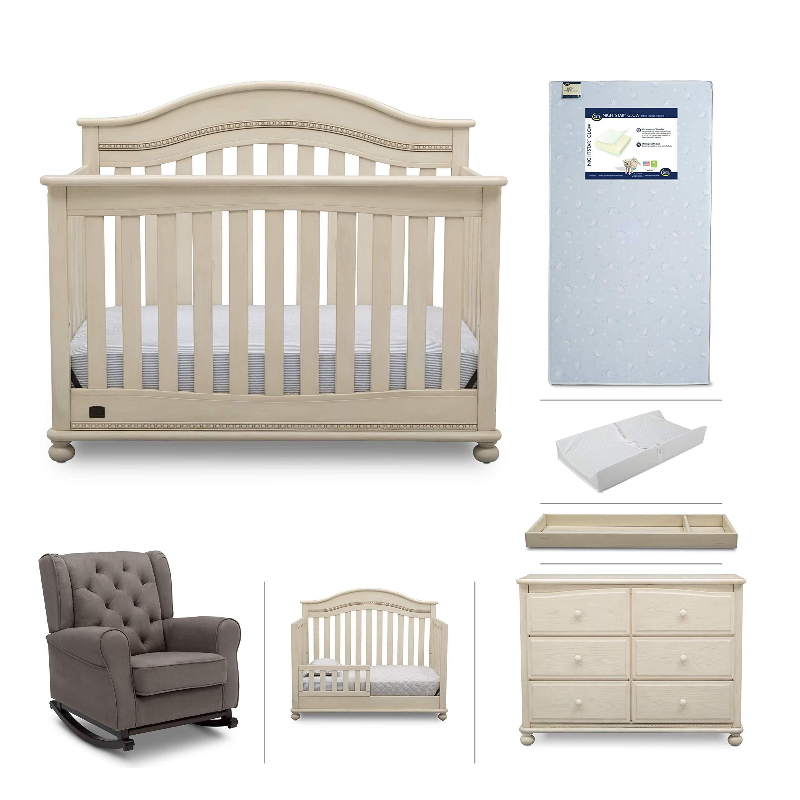 Baby Nursery Furniture Set - 7 Pieces Including Convertible Crib, Dresser, Rocking Chair, Crib Mattress, Toddler Rail, Changing Top, Changing Pad - Simmons Kids Bristol Antique White/Graphite by Delta Children