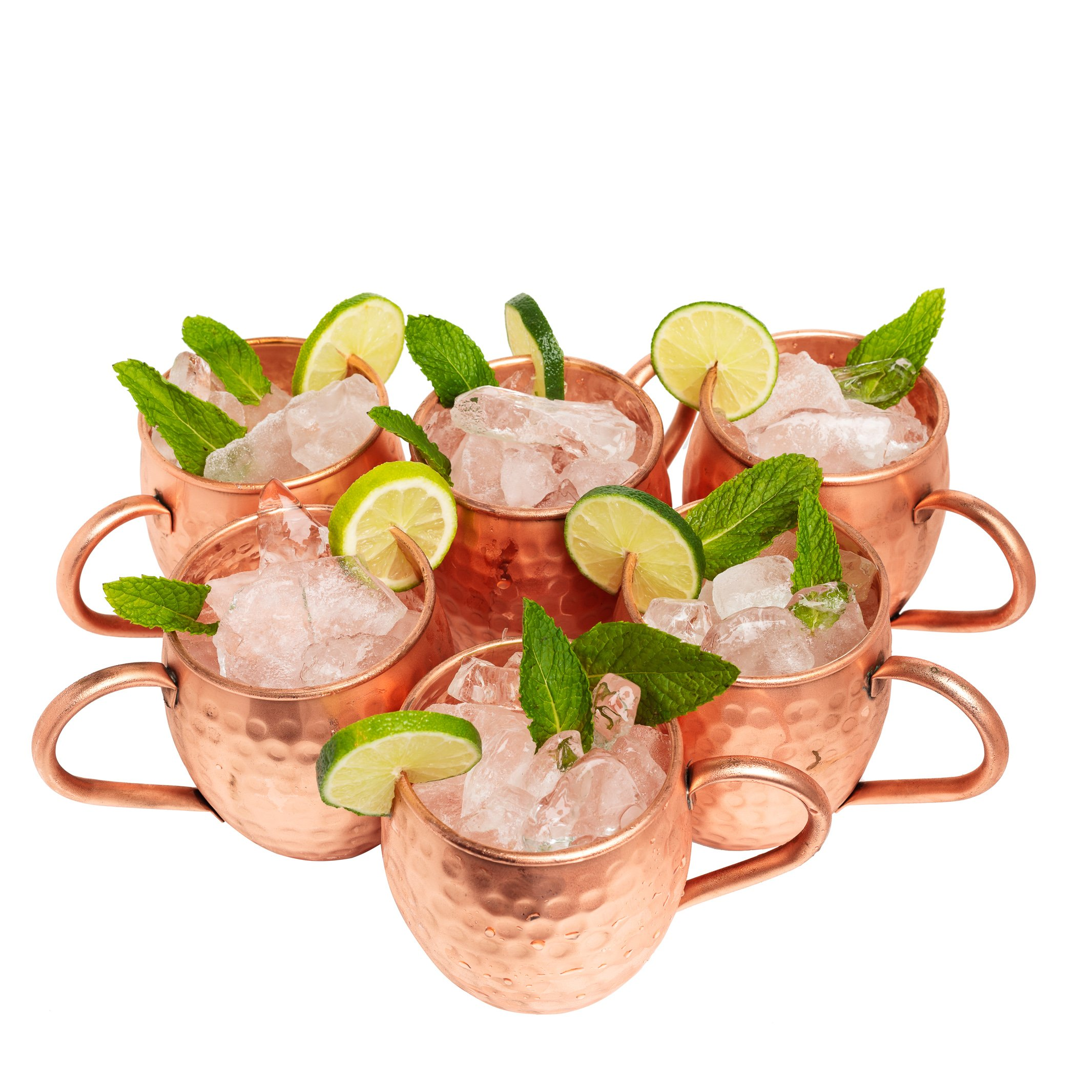 Kitchen Science Moscow Mule Hammered Copper 16 Ounce Drinking Mug, Set of 6 (6)
