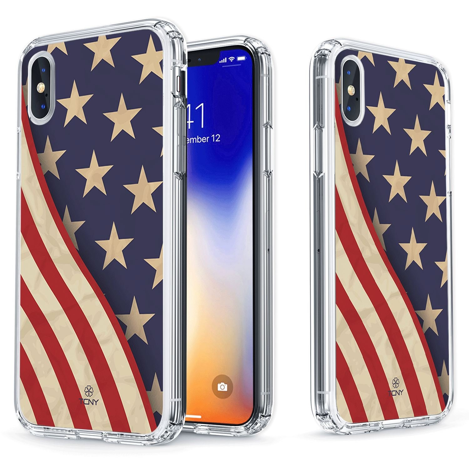 True Color Case For Iphone Xs Iphone X American Flag Case Clear Shield Grunge American Flag Printed On Clear Back Soft And Hard Thin Shock