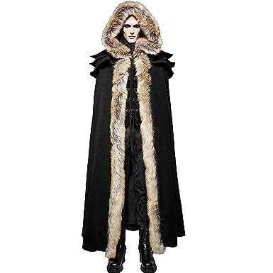 f6ac424d Punk Rave Black Winter Warm Gothic Wool Faux Fur Collar Long Cape ...