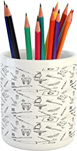 "Ambesonne Hipster Pencil Pen Holder, Hand Drawn Style Pattern with Dental Hygiene Theme Teeth Care Cleaning, Ceramic Pencil Holder for Desk Office Accessory, 3.6"" X 3.2"", Grey White"