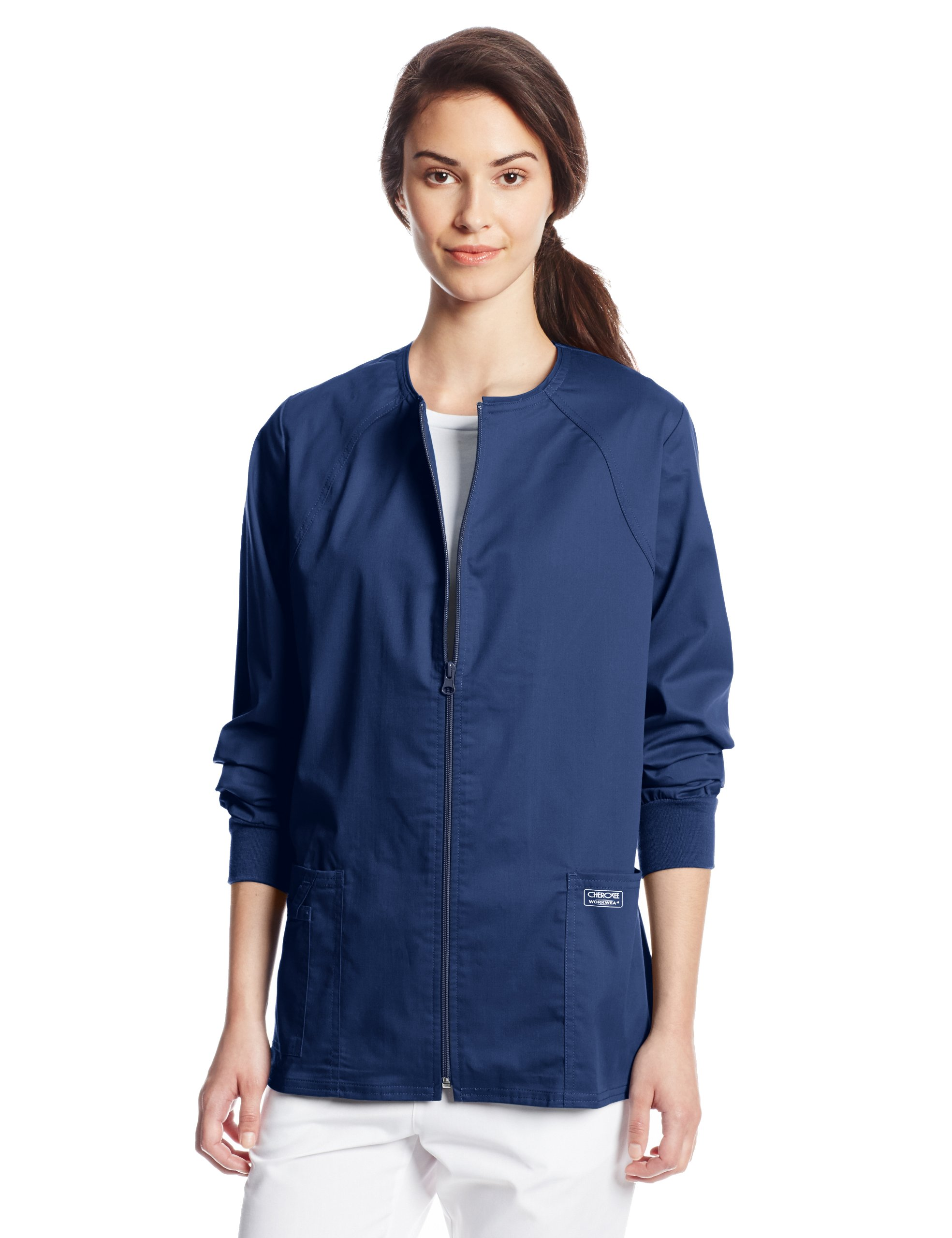 Cherokee Women's Workwear Scrubs Core Stretch Zip Front Warm Up Jacket, Navy, 2X-Small