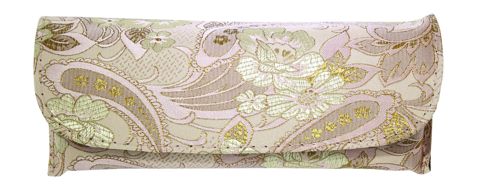 Asian Silk Brocade Style Semi-Hard Eyeglass Case Front Closure Pink Champagne by Ron's Optical (Image #1)