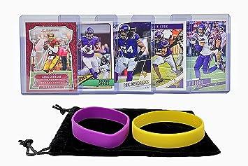 Minnesota Vikings Cards Adam Thielen Steffon Diggs Kirk Cousins Dalvin Cook Eric Kendricks Assorted Football Trading Card And Wristbands Bundle