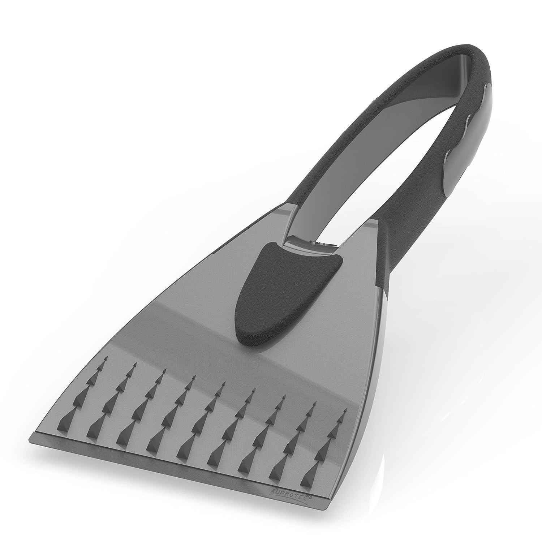AUPROTEC Eiskratzer mit konvexer Messingklinge rutschfestem Super-Soft Griff und Gummilippe AX 1 schwarz-gelb