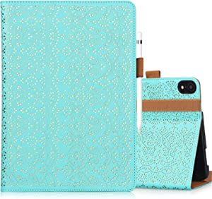 "WWW iPad Pro 11"" 1st Generation 2018 Case,[Support Apple Pencil Charging][Luxury Laser Flower] PU Leather Case with Auto Wake/Sleep and Multiple Viewing Angles for iPad Pro 11"" 1st Gen 2018 Mint Green"