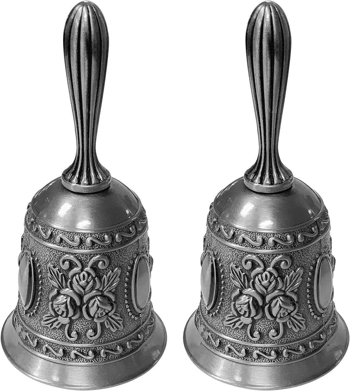 Adorox Set of 2 Antique Hand Bell Call Bell Brass Wedding Bells Temple Bell (Sliver Hand Bell)